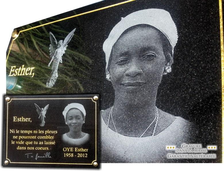 Portrait gravé sur une belle plaque mortuaire pour tombe