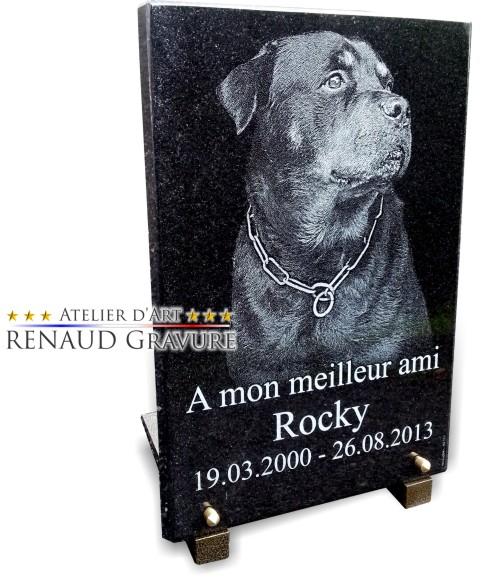 Plaque funéraire avec gros chien