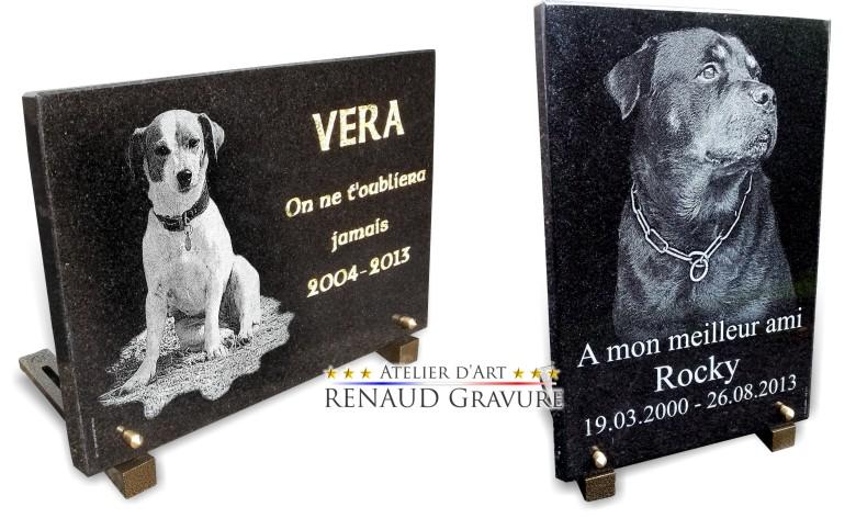 Voici des photos de plaques funéraires pour chiens et animaux de compagnie.