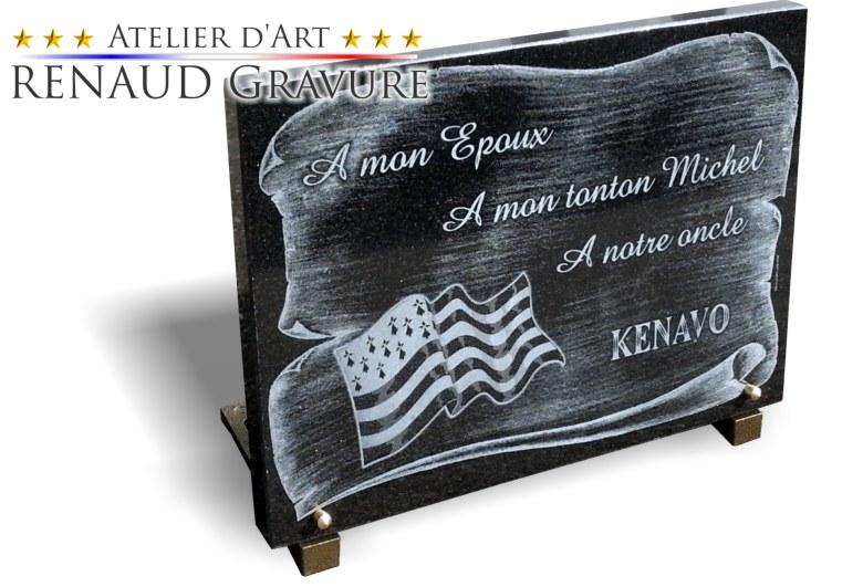 Plaque funéraire drapeau bretagne