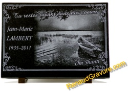 Memorial plaque small boat fisherman with lake and countryside landscapes.