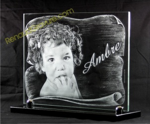 Glass grave plaque with etched picture