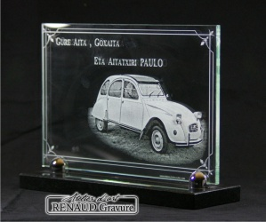 2cv Car engraved in glass for a funeral plaque.