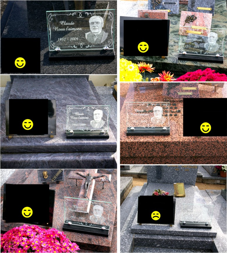 Photos of glass memorial plaques put on monuments of different colours.
