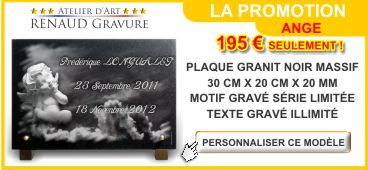 Promotion sur une plaque funéraire en granit avec ange