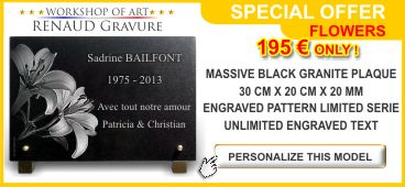 Cheap memorial plaque on special offer and customisable : flowers