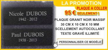 Plaque fun�raire adh�sive granit autocollante 300 x 100 x 10 mm en promotion