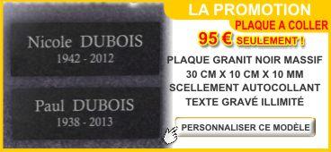 Plaque funéraire adhésive granit autocollante 300 x 100 x 10 mm en promotion