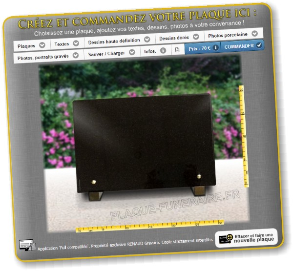 Configurateur de plaques funéraires personnalisables